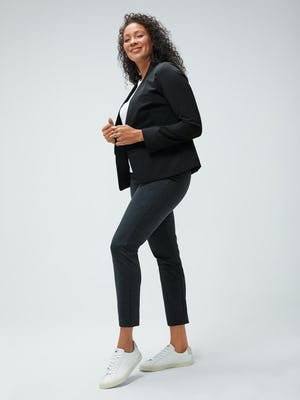 women's black kinetic blazer and white luxe touch tank and grey heather houndstooth fusion straight leg pant model facing to the side