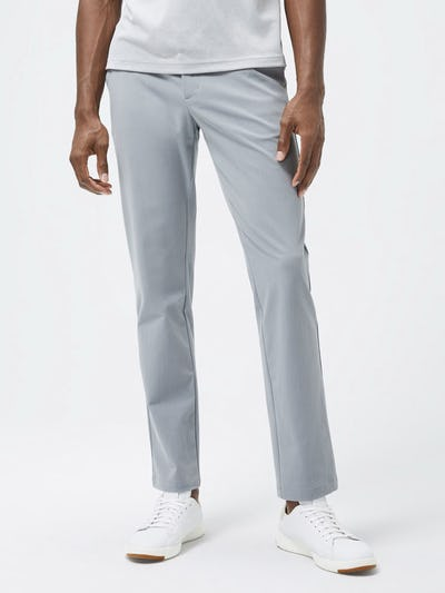 Close up of Light Grey Men's Momentum Chino on model