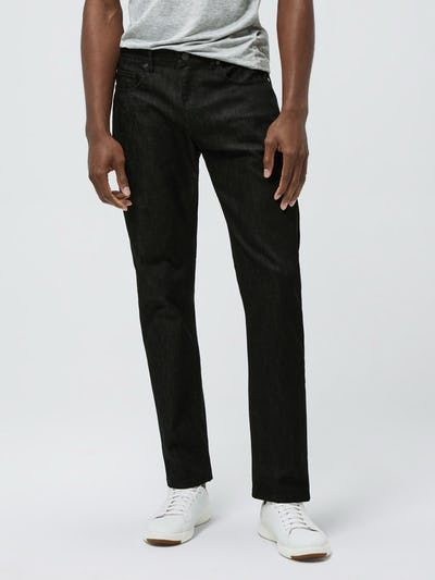 Close up of Men's Black Chroma Denim on model