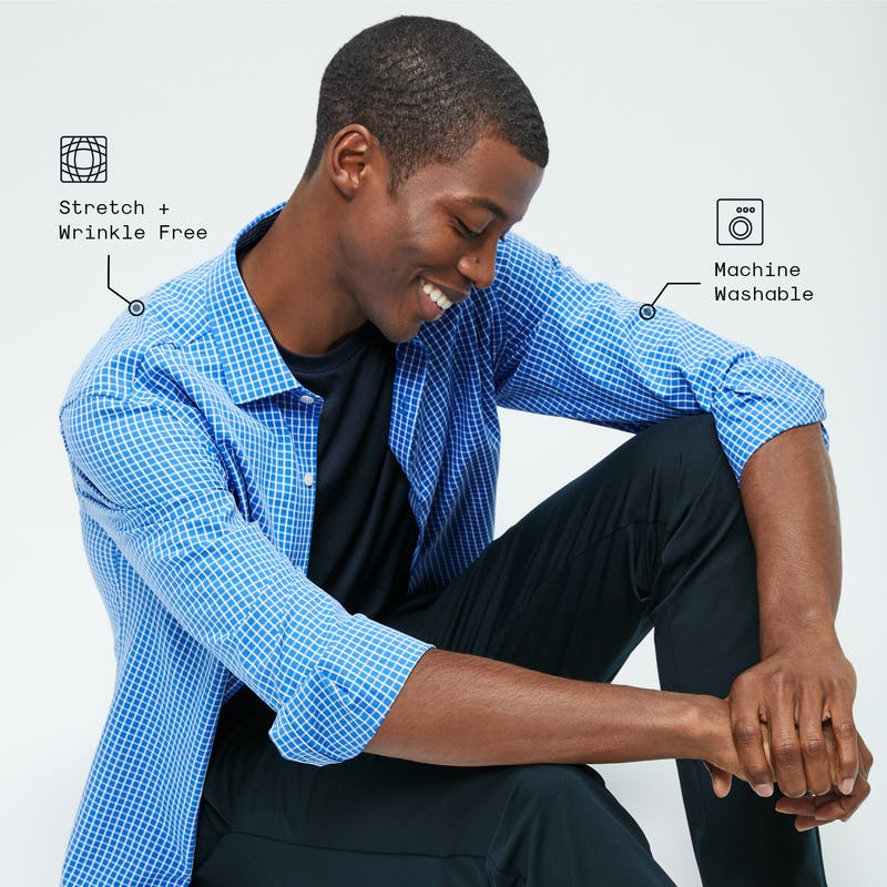 Mens' Aero Shirt on model with navy tee underneath