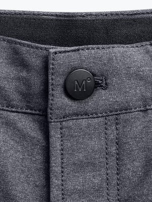 grey heather kinetic twill 5 pocket pant close up of branded button