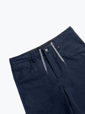 Men's Navy Kinetic Twill 5-Pocket Pant zoomed shot of front with drawstrings
