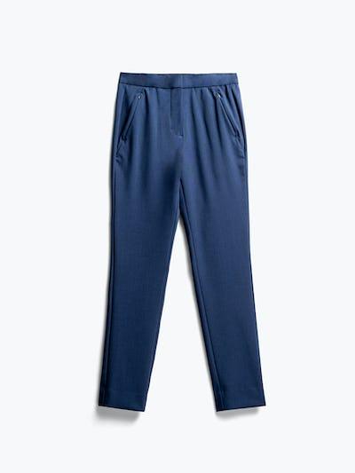 women's indigo heather velocity tapered pant flat shot of front
