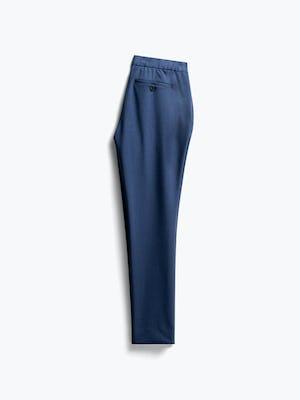 women's indigo heather velocity tapered pant flat shot of back folded