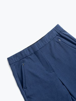 women's indigo heather velocity tapered pant zoomed shot of front