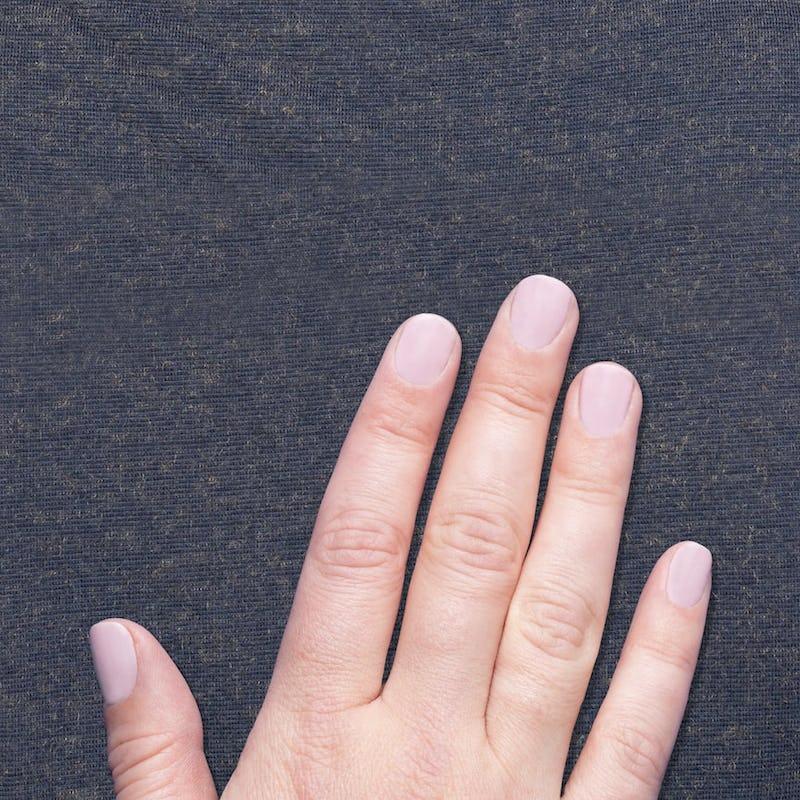 hand against composite merino fabric