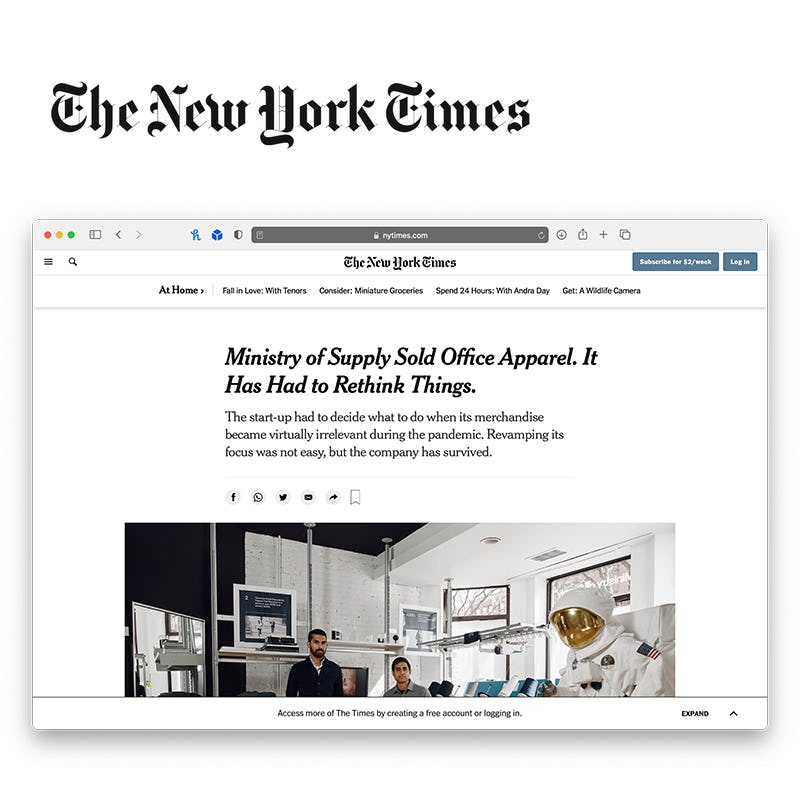 """Screenshot of New York Times article with the title """"Ministry of Supply Sold Office Apparel. It Has Had to Rethink Things."""""""