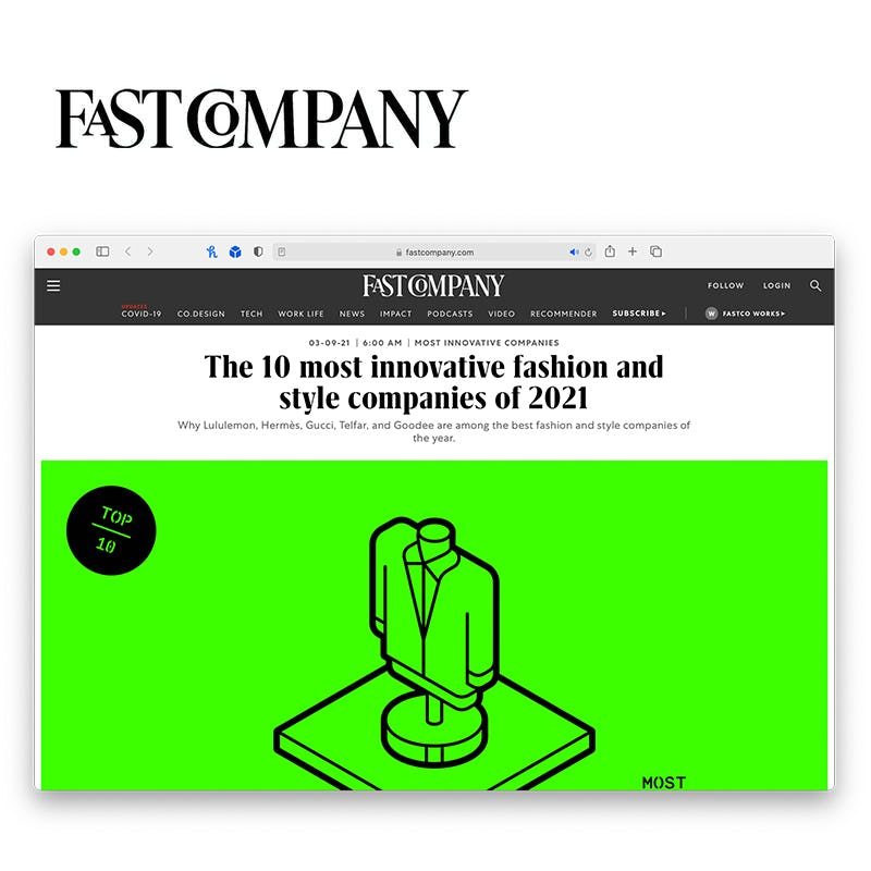 """Screenshot of Fast Company's """"The 10 most Innovative fashion and style companies of 2021"""" article"""