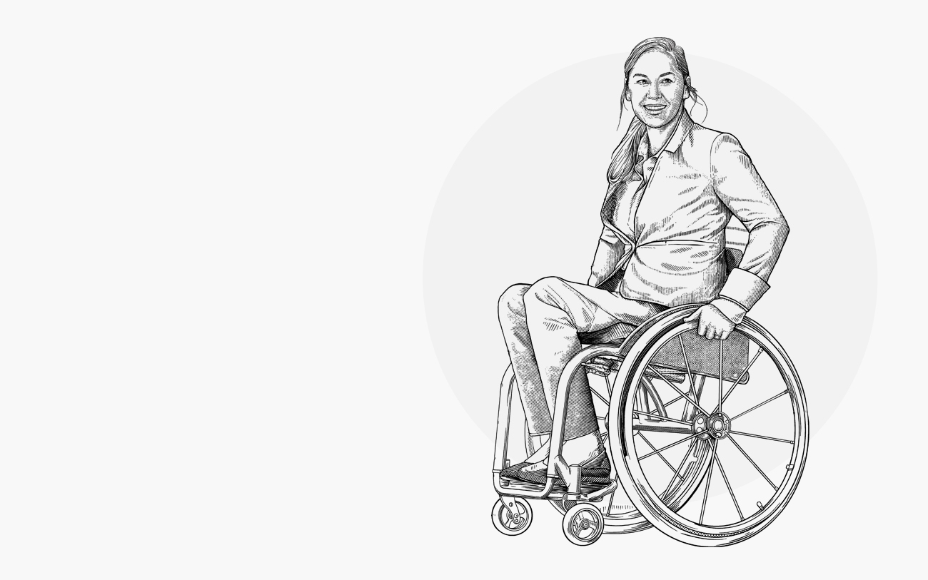 Photo of women in wheelchair wearing Kinetic Adaptive Pants