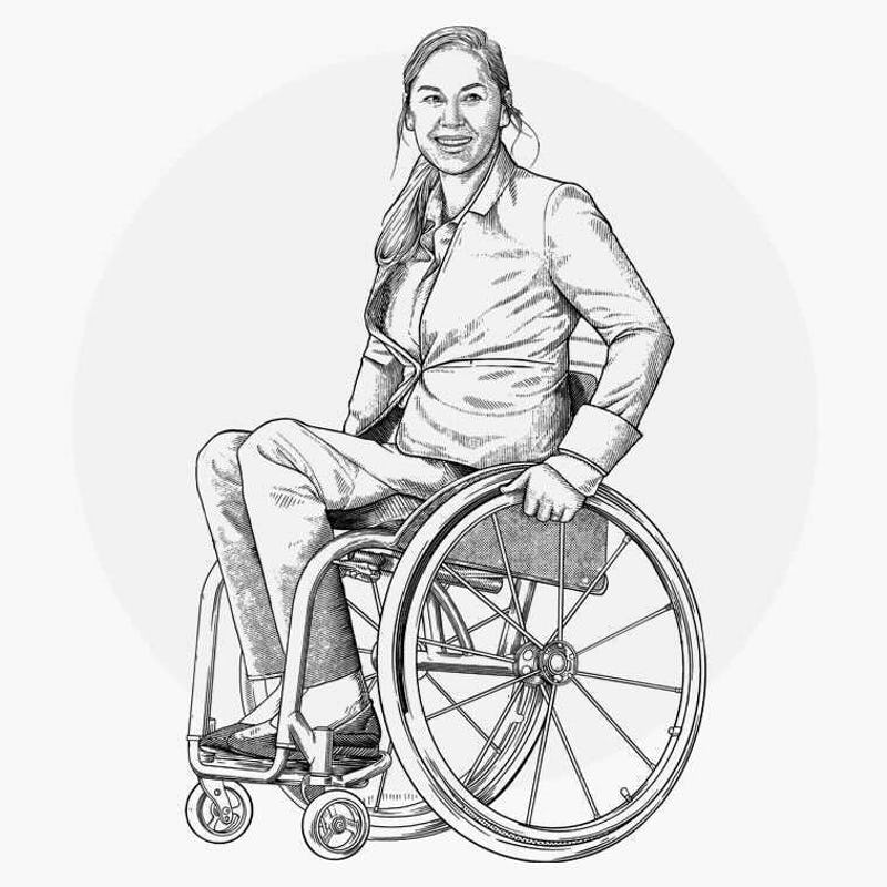 Illustration of woman using a wheelchair