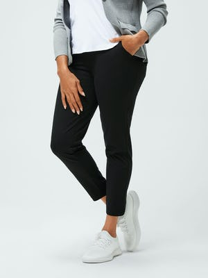 women's black kinetic pull on pant on model zoomed