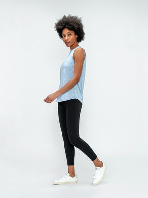 Women's Chambray Blue Composite Active Tank and Black Joule Active Legging on Model walking left