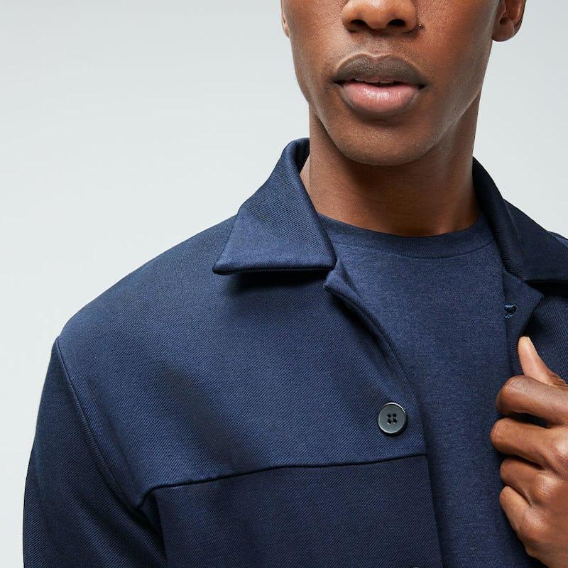 men's navy fusion chore coat styling proof