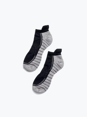 black/light grey atlas ankle socks flat shot of pair