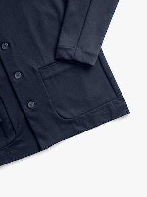 men's navy fusion chore coat zoomed shot of front pocket and cuff