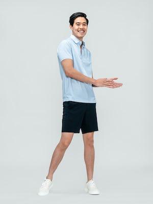 Men's Blue Degree Print Apollo Polo and Navy Kinetic Short on model facing forward