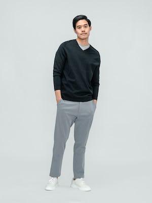 Men's Charcoal Static Atlas V-Neck Sweater and Men's Light Grey Momentum Chino on model facing forward