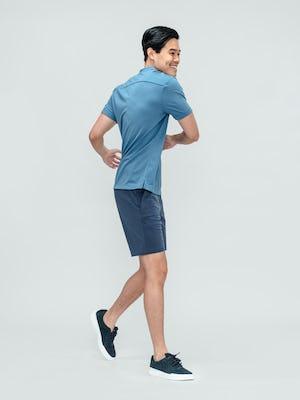 Men's Storm Blue Composite Merino Short Sleeve Henley with Men's Slate Blue Kinetic Short