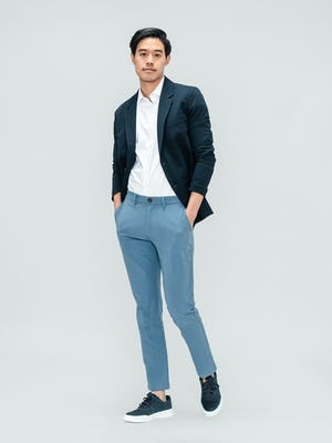 Men's Navy Kinetic Blazer over Men's White Aero Zero Shirt with Storm Blue Momentum Chino on model facing forward