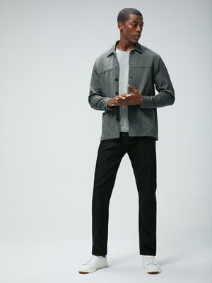 Men's Stone Grey Fusion Chore Coat over Men's Grey Heather Composite Merino Tee and Men's Black Chroma Denim on model facing forward