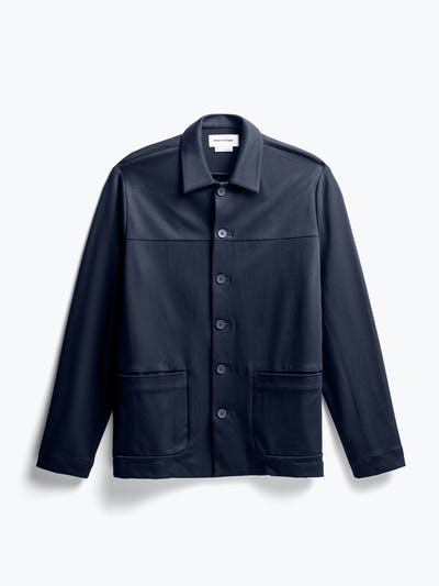 men's navy fusion chore coat flat shot of front