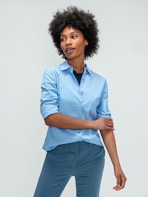 Women's Storm Blue Momentum Chino, Women's Indigo Luxe Touch Tank, and Women's Solid Blue Nylon Aero Shirt on model