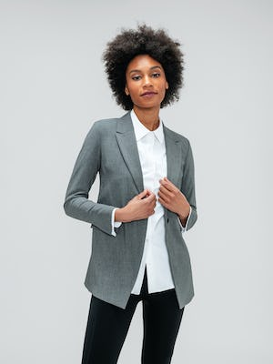 Women's White Aero Zero Shirt and Women's Light Grey Velocity Blazer on model
