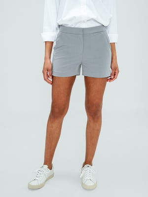 Women's Light Grey Momentum Chino Shorts on model facing forward