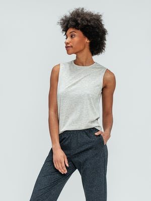 Women's Grey Heather Composite Merino Tank and Women's Grey Glen Plaid Fusion Ankle Pull-On Pant on model with hand in pant pocket