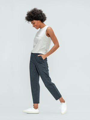 Women's Grey Heather Composite Merino Tank and Women's Grey Glen Plaid Fusion Ankle Pull-On Pant on model walking left