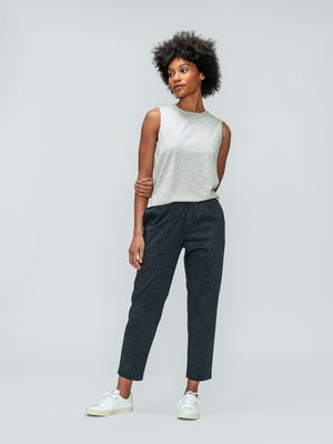Women's Grey Heather Composite Merino Tank and Women's Grey Glen Plaid Fusion Ankle Pull-On Pant on model facing forward