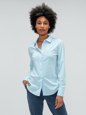 Women's Light Blue Juno Recycled Tailored Shirt on model with hand in pant pocket