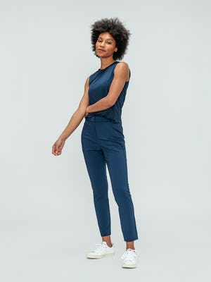 Women's Indigo Luxe Touch Tank and Indigo Heather Velocity Pant on model
