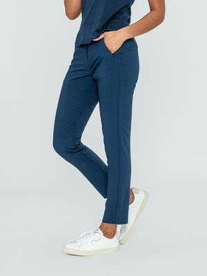 Women's Indigo Heather Velocity Pant on model facing left