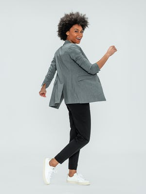 Women's Light Grey Velocity Blazer and Black Kinetic Pull-On Pant on model dancing