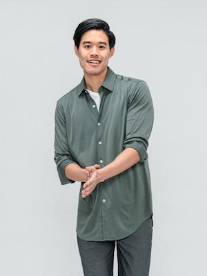 Men's Olive Solid Apollo Shirt on model walking forward