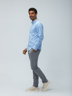 Men's chambray mini grid aero button down slate grey kinetic pant model facing to the side