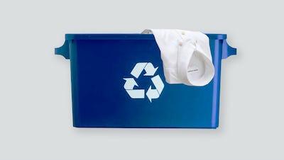 Shirt in recycling bin
