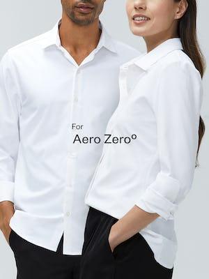 Man and Woman wearing Aero Zero Shirts
