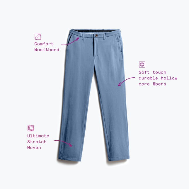 Blue momentum chino with feature callouts in text