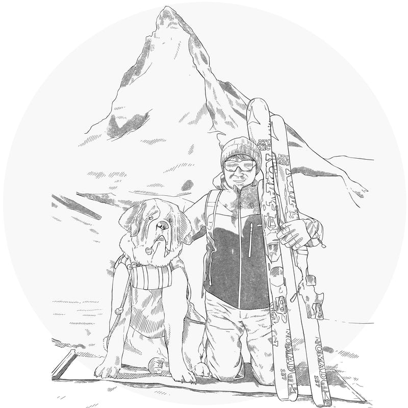 tetsuya and a dog on a ski trip