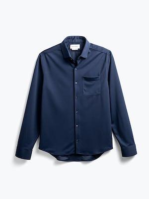 men's navy apollo sport shirt flat shot of front