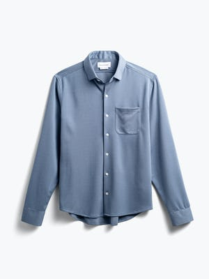 men's slate blue apollo sport shirt flat shot of front