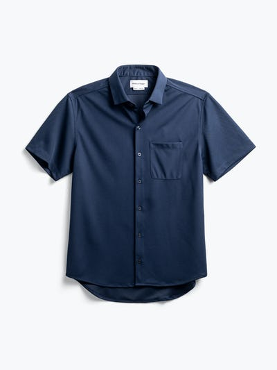 men's navy apollo short sleeve sport shirt flat shot of front