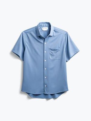 men's steel blue apollo short sleeve sport shirt flat shot of front