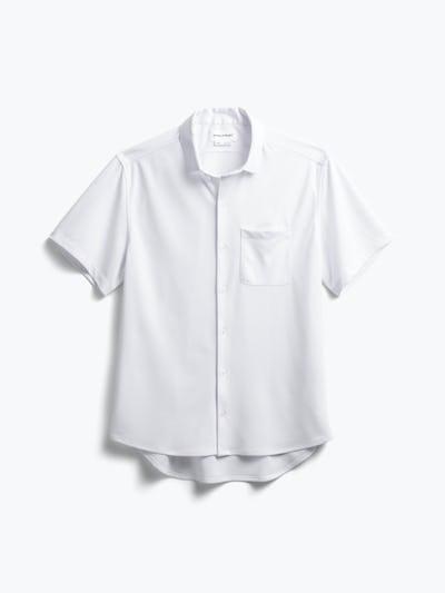 men's white apollo short sleeve sport shirt flat shot of front