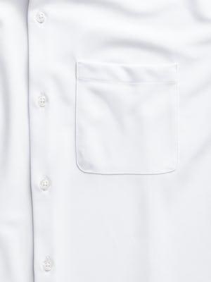 men's white apollo short sleeve sport shirt zoomed shot of pocket