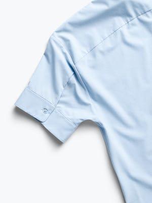 Women's Chambray Blue Juno Boxy Blouse close up of buttoned cuff