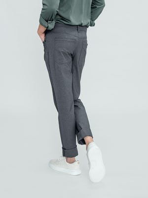 Men's Medium Grey Kinetic Twill 5-Pocket Pant on model back view