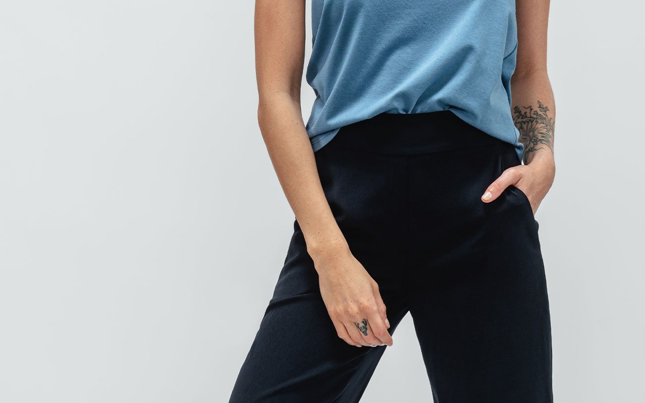 close up of swift wide leg pull on pant on model